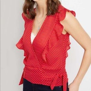 Maurices Red Polka Dot Ruffle Top